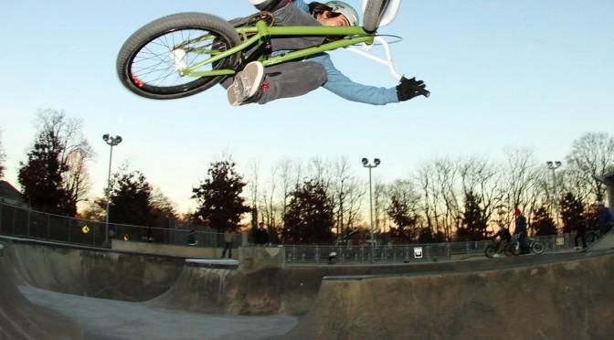 Thad Allender airs the bowl at the Powhatan Skatepark